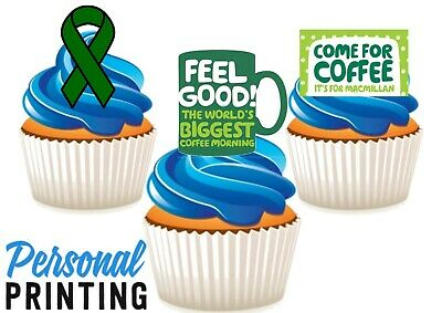 Macmillan Coffee Morning Mug Ribbon Trio Mix EDIBLE STAND UP WAFER CAKE TOPPERS