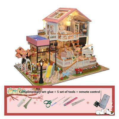 DIY Handmade Kids Doll House With Furniture & Staircase Fits Barbie Dollhouse UK