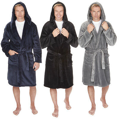 """/""""MICHAEL PAUL/"""" MENS HOODED SUPER SOFT/&COSY FLEECE DRESSING GOWN ROBE SIZES M-5XL"""