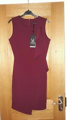 Burgundy Wine Maroon Red Purple Ruffle Shift Day Dress Size 10 S Made in Italy