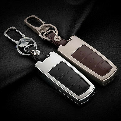 Alloy Smart Remote Key Fob Shell Leather Button Case Cover For VW CC KC03