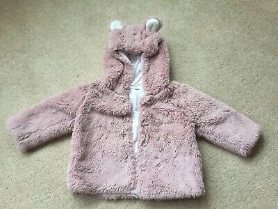 Next Baby Girls Pink Furry Winter Hooded Coat With Buttons 9-12 Months