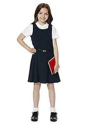 3 x GIRLS EX F&F NAVY BELTED SCHOOL DRESS PINAFORE UNIFORM. Yes 3 Dresses
