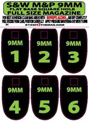 SPRINGFIELD XD XDM 9MM Numbered Subdued American Flag Mag Base Sticker 6 PACK