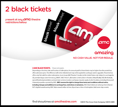 AMC Theater - 2 Black Movie Tickets | Fast E-Delivery  | 50 States No expiration