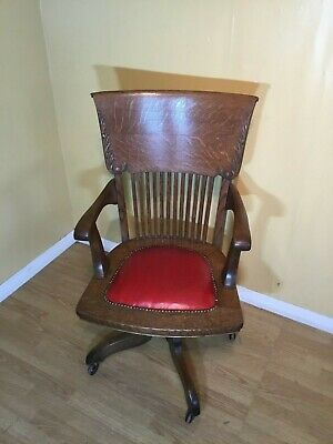 excellent golden oak victorian tilt & swivel office chair with red leather seat