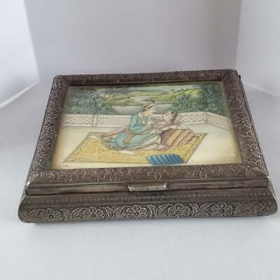 Antique Indian India Silver Inset Painting Box