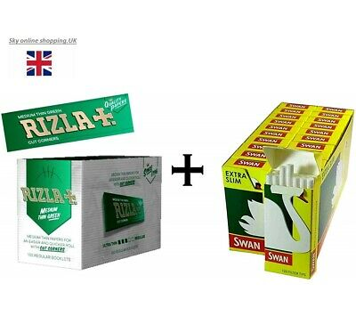 Rizla Green Regular Size Rolling Papers and Swan Extra Slim Filter Tips