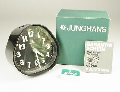 Black alarm clock Junghans unused mid century retro in original box - German