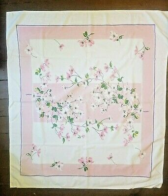"""Vintage Linen Tablecloth Pink White Dogwood Tree Flowers  53"""" x 47"""""""