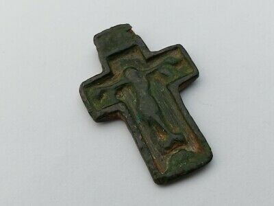 ANTIQUE OLD 15-16th Cent. ORTHODOX RUSSIAN CROSS CRUCIFIX COPPER PENDANT