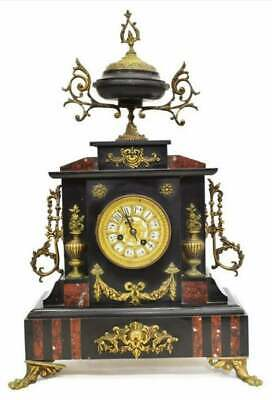French Napoleon III Empire Clock with decotative rouge marble gilt-metal mounted