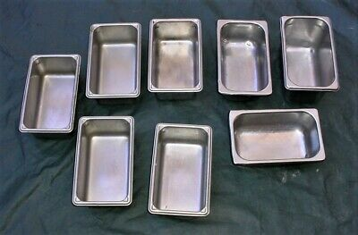 """Lot 8 1/4  Size 4""""& 6"""" Deep Stainless Steel Steam Table  Salad Bar Catering Pans"""