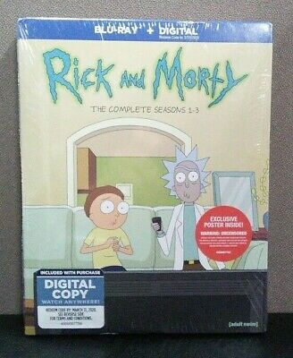 Rick And Morty  The Complete Seasons 1-3    (Blu-ray+Digital w/Slipcover)   NEW