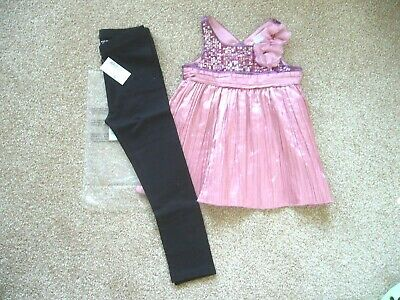 Next Pink Party Top Sequin Detail 3 Years & Bnwt Black Leggings 4 Yrs C/Place