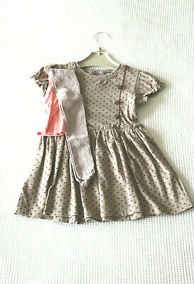 Next Girls Mink Military Style Dress &  Sparkle Tights Age 3-4 Years BNWT