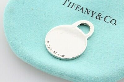 Tiffany & Co. Sterling Silver 925 Round Classic Plain Engravable Tag Pendant