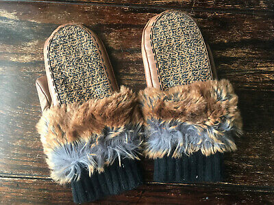 Authentic Chanel Brown Leather Mittens Mink Fur Gloves Size 7