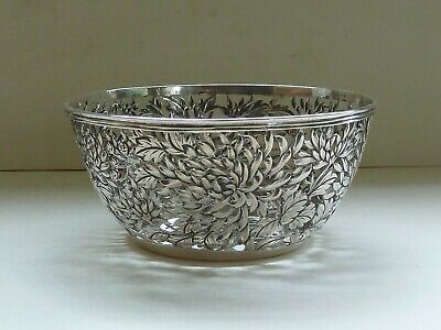 Rare Pierced Silver Bowl with Chrysanthemums, Chinese Export c. 1900 by Yu Chang