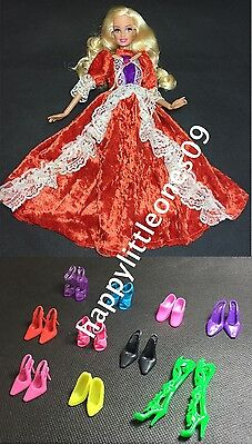 10 pairs of Doll Shoes and 1x Barbie Doll Party Evening Dress/Clothes/Outfit New