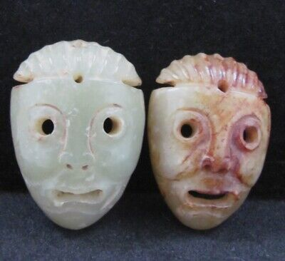 2x China Antique Hand-carved Mask carving hetian jade Pendant