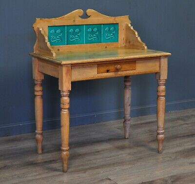 Attractive Small Antique Victorian Pine Washstand, Tile Gallery Back