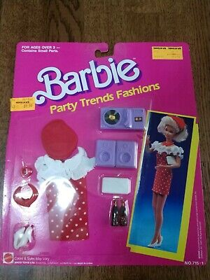 1989 Barbie Party Trends Fashions #715 Unopened Card Red Polka Dot Dress