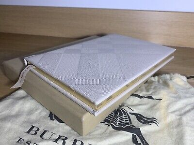 Burberry Leather Notebook Organizer Great Gift! Unisex Taupe Color With Box!