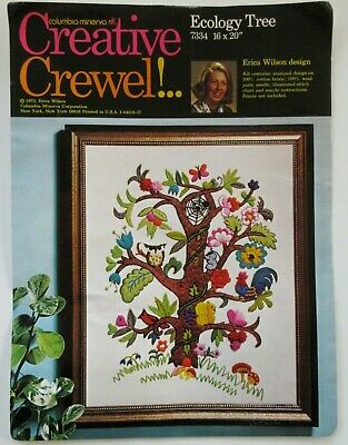 Ecology Tree 7334 Creative Crewel Embroidery Kit Owl Rooster Web Erica Wilson