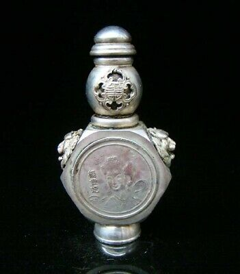 Collectible Handmade Carved  Statue Copper Silver Snuff Bottles Ancient beauty
