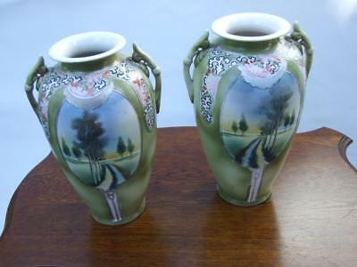ANTIQUE  PAIR JAPANESE VASES H/PAINTED COUNTRY SCENE GREEN GILT 1900's Vintage