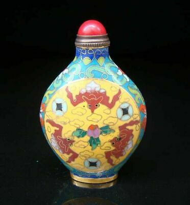 Collectibles 100% Handmade Painting Brass Cloisonne Enamel Snuff Bottles 075