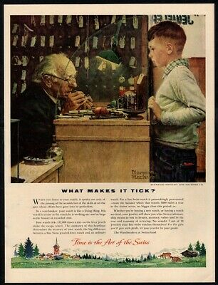 1954 SWISS Watches - NORMAN ROCKWELL Art - Inspection - Watchmaker VINTAGE AD