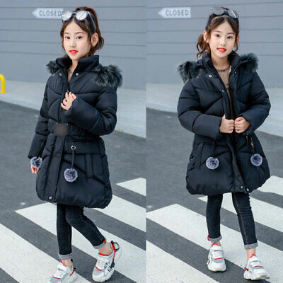 Kids Girls Padded Coat Winter Warm Hooded Fur Collar Jacket Parkas Thicken Coats