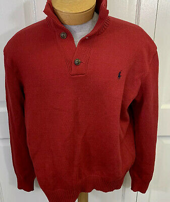 POLO RALPH LAUREN Men's Sweater Pullover Sz XL Extra Large Red Button Closure