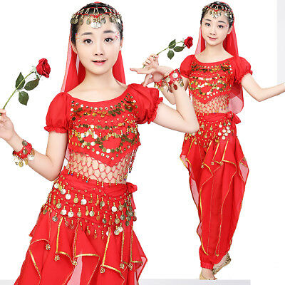 Oriental Belly Dancing Kids Girls Costume Indian Performance Festival Halloween