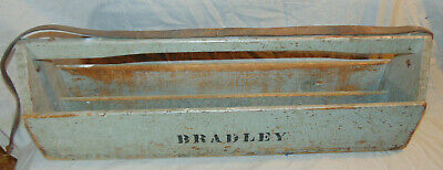 "Antique Wooden Carpenters Laborers Tool Caddy Box Marked ""BRADLEY"" Estate Fresh"