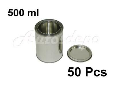 Pint Size , 500 ml Empty Metal Paint Cans With Lids (50 Cans & 50 Lids)
