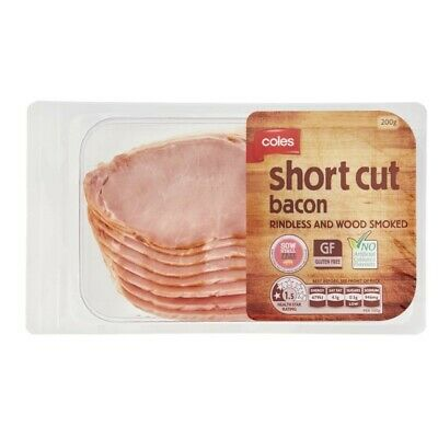 Coles Gluten Free Rindless And Wood Smoked Short Cut Bacon 200g