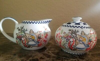 New Paul Cardew Alice In Wonderland Through The Looking Glass Sugar Bowl Creamer
