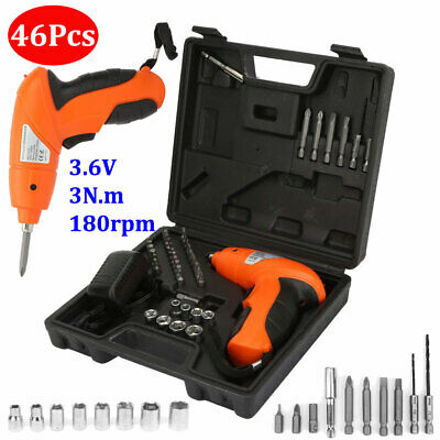 46pcs Power Tool Rechargeable Cordless Electric Screwdriver Drill Kit Wireless