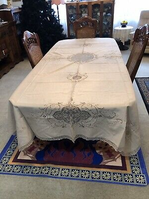 Edwardian (1910 -1920) Stunning Hand Worked Banquet Tablecloth