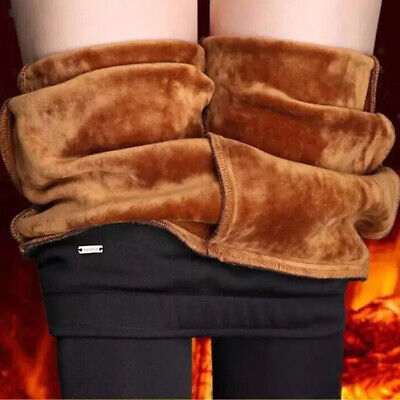 Women Sexy Thermal Fur Lined Stretchy Pencil Pants High Waist Trousers Tights