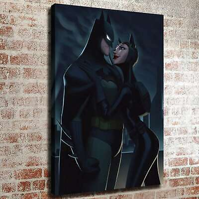 "12""x18""Batman Catwoman Paintings HD Canvas print Home decor Wall art pictures"