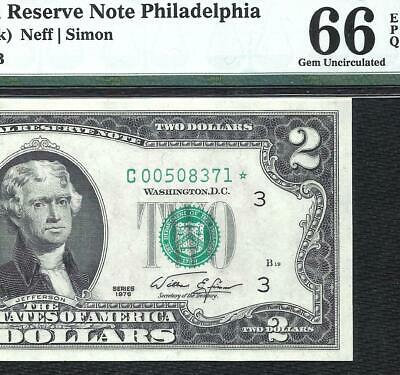 1976 $2 *STAR* (~PHILADELPHIA~) PMG GEM UNC 66EPQ! Old US Paper Money Currency!