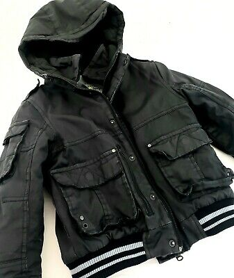 Boys NEXT Black Distressed Hooded Jacket Size 5 Lined Canvas Winter Coat