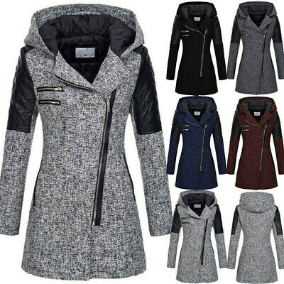 Parka Donna Invernale Trench Giacca Cappotto Lungo Inverno Giubbotto Zip Hoodie