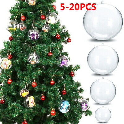 5/20X Clear Balls Fillable Baubles DIY Sphere Craft For Christmas Tree Ornament