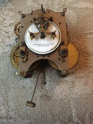 Antique Ansonia Open Escapement Mantle Clock Movement Working