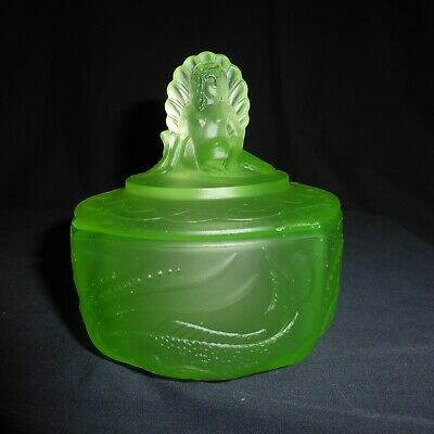 Large,Art Deco, Walther, Uranium Glass, Nymphen, Trinket Pot, Mermaid
